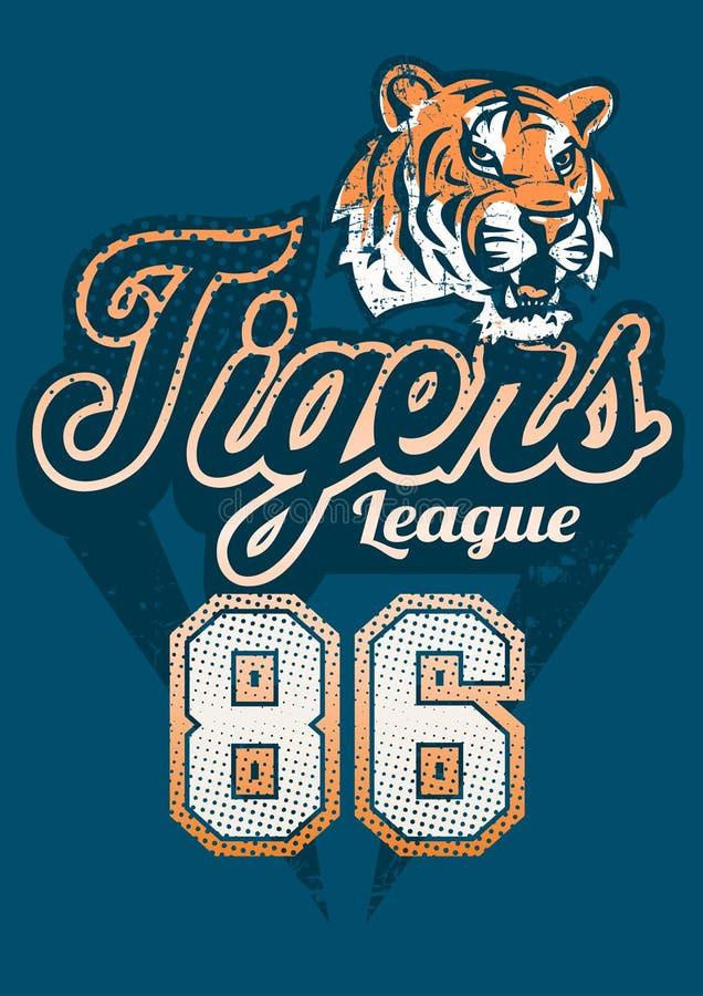Tryck för ärmlös tröja för tigersportliga stock illustrationer