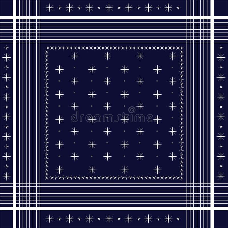 Tryck för Bandana för moderiktig vektorprydnad minsta, siden- halshalsduk eller för modelldesign för sjalett fyrkantig stil för m vektor illustrationer