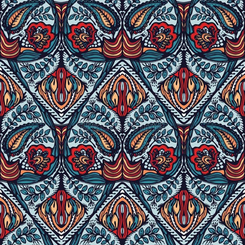 Tryck för Boho blommadamast över hela Sömlös vektor som upprepar modellprovkarta Röd svart bohemisk folk motivbakgrund tecknad ha stock illustrationer