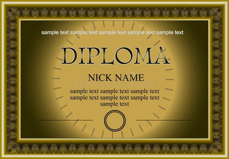 tryck för certifikatdiplombokstav royaltyfri illustrationer