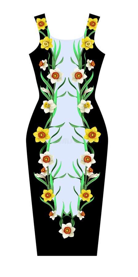 Tryck för klänning med påskliljablommor royaltyfri illustrationer