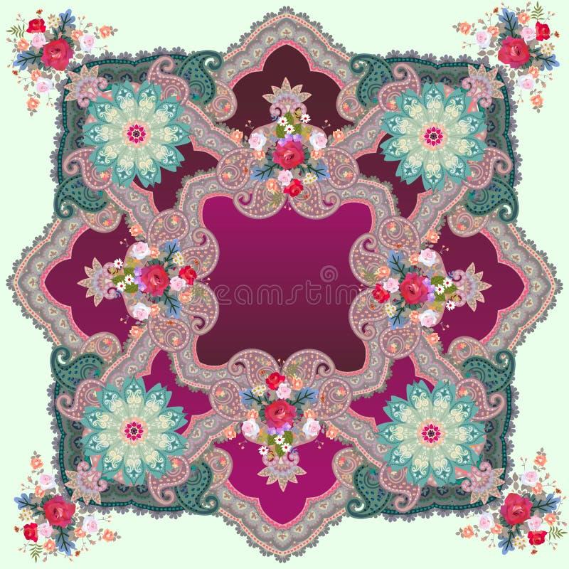 Tryck för kudde eller lyxig fyrkantig filt med den utsmyckade prydnaden, mandalas, paisley och blommor i etnisk stätta Indiska ar stock illustrationer