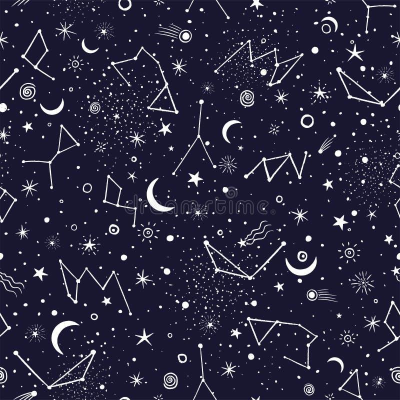 Tryck för modell för utrymmegalaxkonstellation sömlöst vektor illustrationer