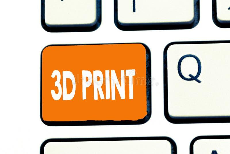 Tryck för ordhandstiltext 3D Affärsidé för utskrift teknologi för tillverkning för tridimensionalsaker av avancerad royaltyfri foto
