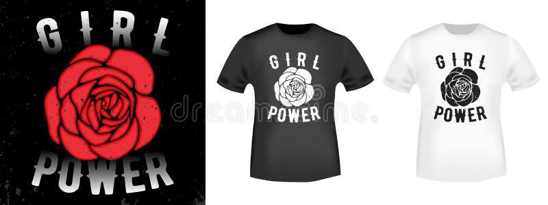 Tryck för skjorta för flickamakt t vektor illustrationer
