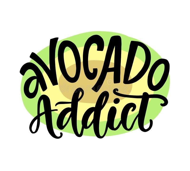 Tryck för skjorta för hemfallen rolig strikt vegetarian sunt T för avokado royaltyfri illustrationer