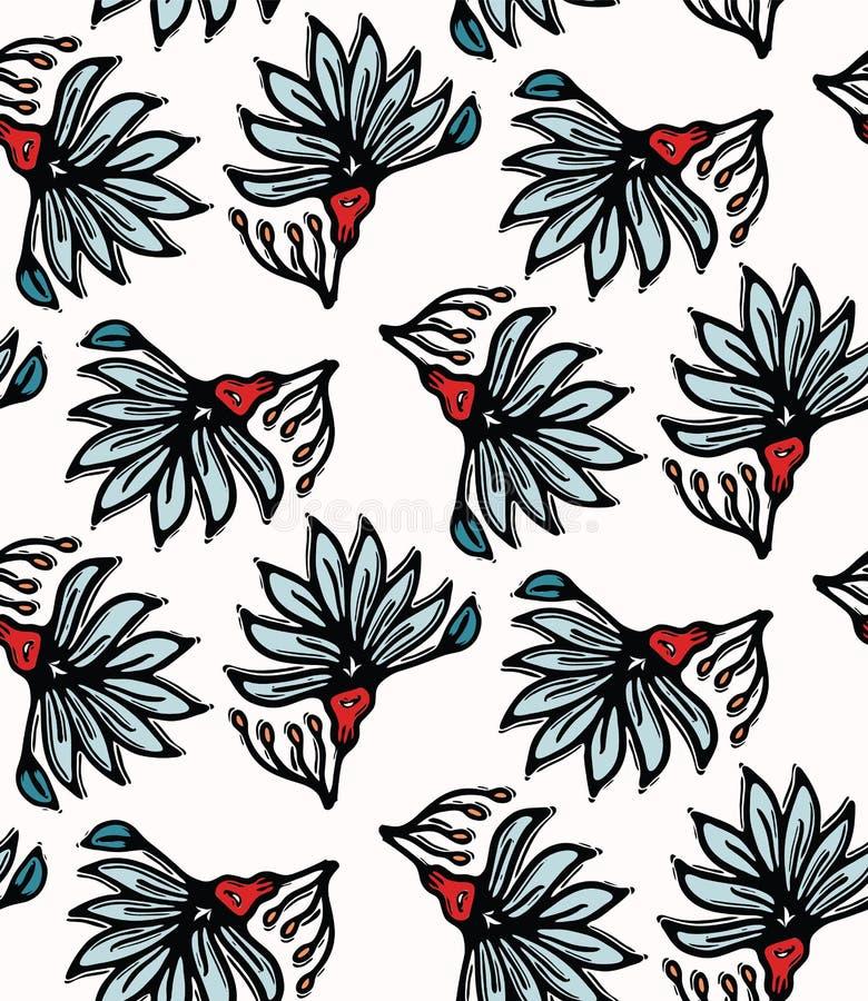 Tryck för vektor för Boho blommablom över hela Sömlös upprepande modellprovkarta Röd svart bohemisk folk blom- bakgrund tecknad h vektor illustrationer