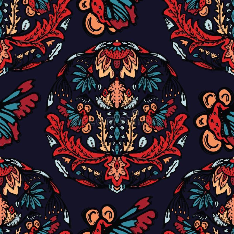 Tryck för vektor för Boho blommamandala över hela Sömlös upprepande modellprovkarta Röd svart bohemisk folk motivbakgrund tecknad stock illustrationer