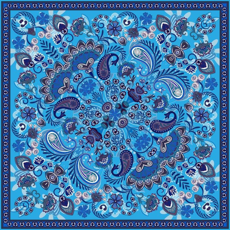 Tryck för vektorprydnadpaisley Bandana, siden- halshalsduk eller stil för design för sjalettfyrkantmodell för tryck på tyg stock illustrationer