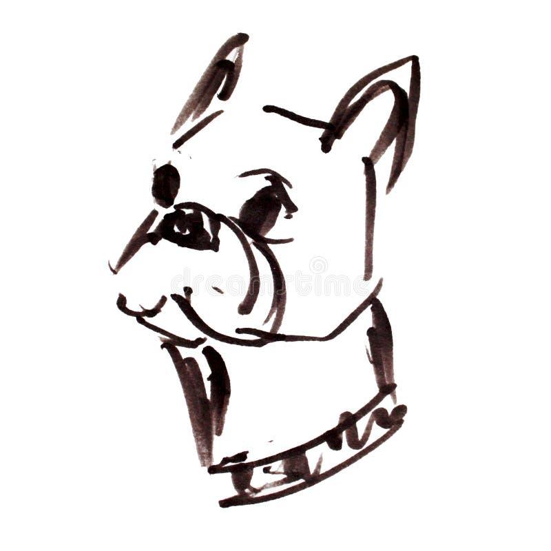 Tryck med den grafiska ståenden för fransk bulldogg royaltyfri illustrationer