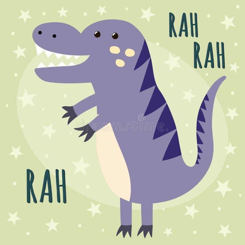 Tryck med en gullig dinosaurie som säger Rah royaltyfri illustrationer