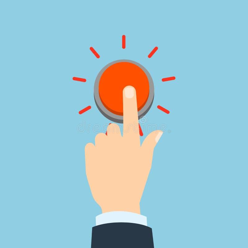 Tryck på den röda knappen vektor illustrationer