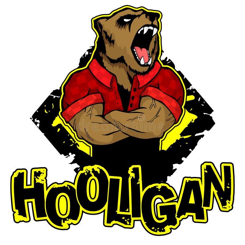 Tryck på ` för T-tröja`-huligan med en björnbild stock illustrationer