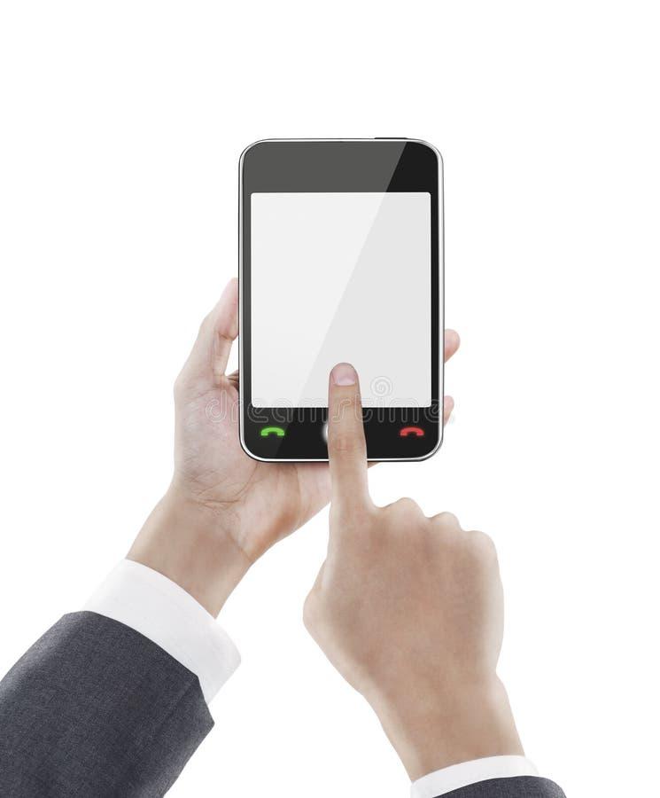 trycka på för affärsmantelefon som är smart royaltyfri foto
