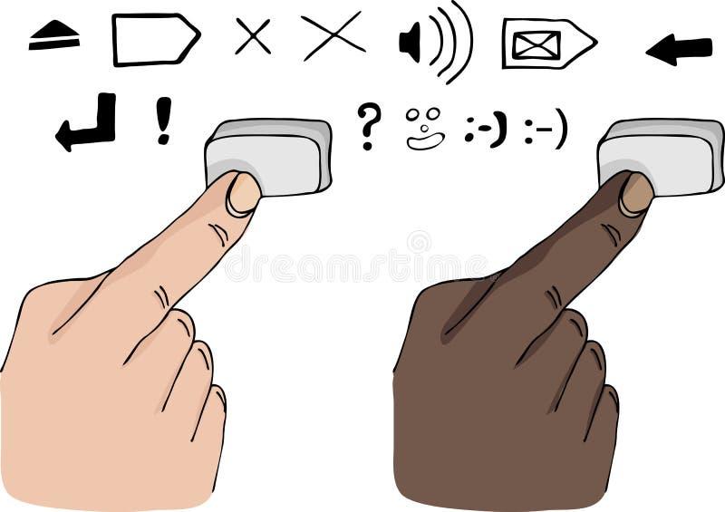trycka på för fingertangent vektor illustrationer