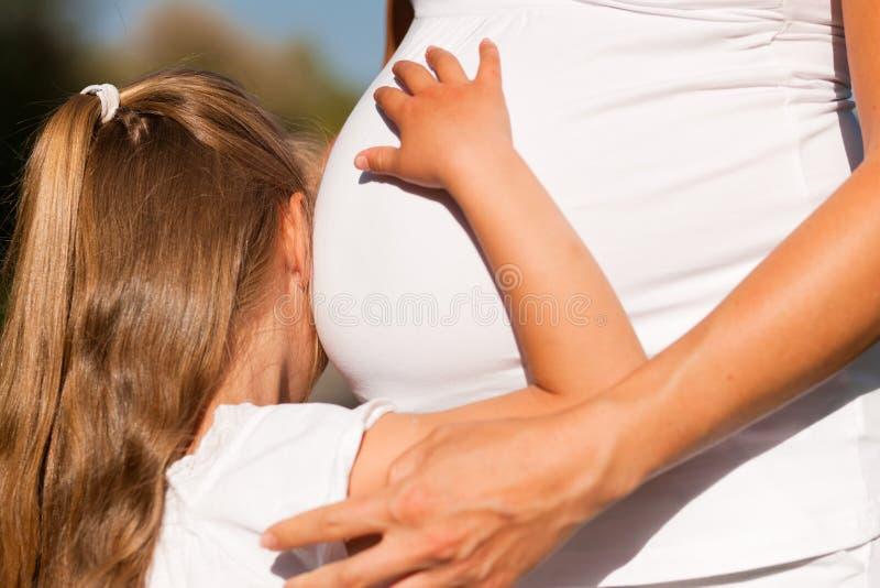 trycka på för havandeskap för bukflickamoder gravid fotografering för bildbyråer