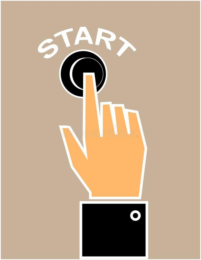 Trycka på startknappen stock illustrationer