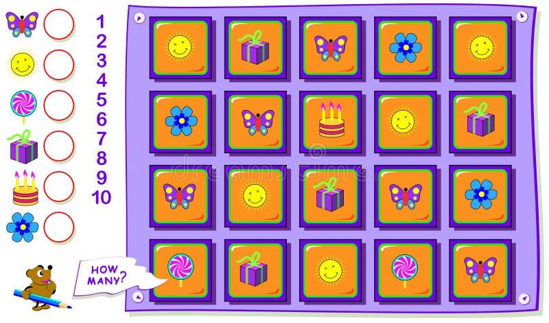 Tryckbar bildande sida f?r ungar R?kna antalet av objekt och skriv numren i cirklar Arbetssedeln f?r behandla som ett barn boken stock illustrationer