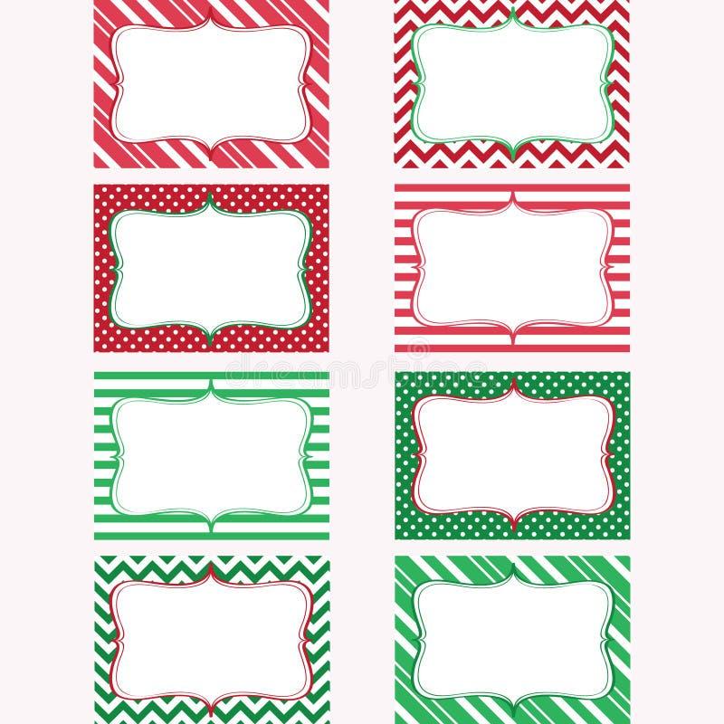 Tryckbar etikettuppsättning för jul Etiketter fotoram royaltyfri illustrationer
