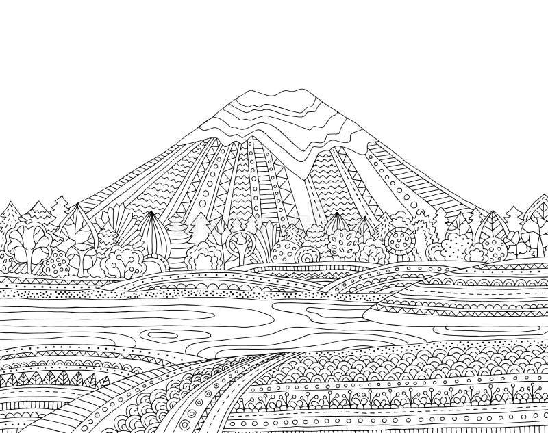 Tryckbar färgläggningsida för vuxna människor med berglandskap, sjö, blommaäng, skog, träd tecknad handvektor arkivbild