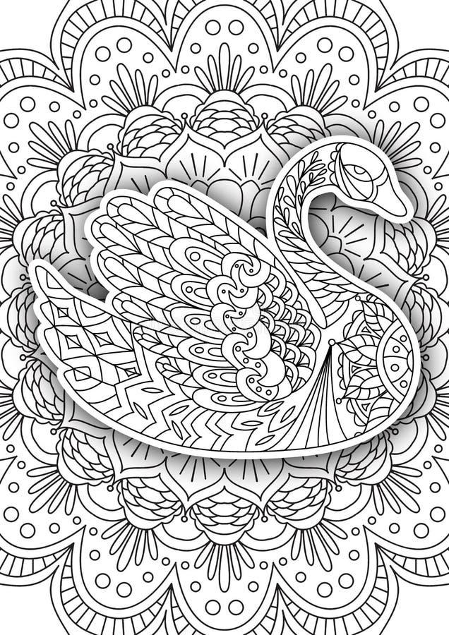 Tryckbar sida för färgläggningbok för vuxna människor stock illustrationer