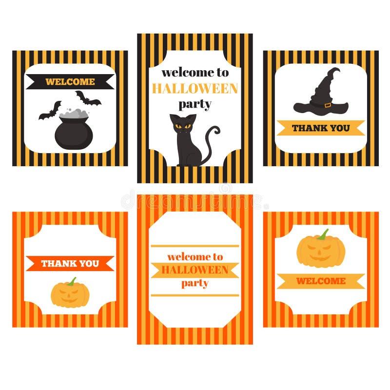 Tryckbar uppsättning av allhelgonaaftonpartibeståndsdelar Mallar, etiketter, symboler och sjalar med pumpa, katten, hatten, slagt royaltyfri illustrationer