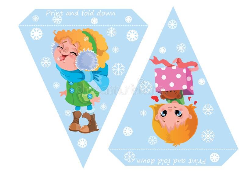 Tryckbara mallflaggor Banerbaby shower, födelsedag, nytt år eller julparti med gulliga flickor och snöflingor vektor illustrationer