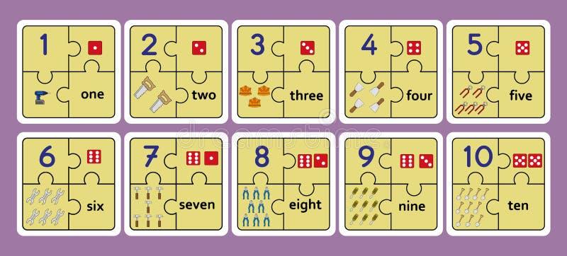 Tryckbara räknande pussel, hjälpmedel för arbete för nummerremsapussel förbryllar och att räkna nummer 1 lek 10, stock illustrationer
