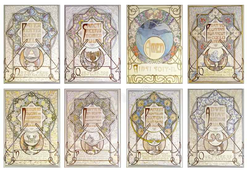 Tryckbart etikettsark - kort för Art Nouveau ATC-handel - tappning blom- Art Nouveau Illustrations - pastell - stock illustrationer