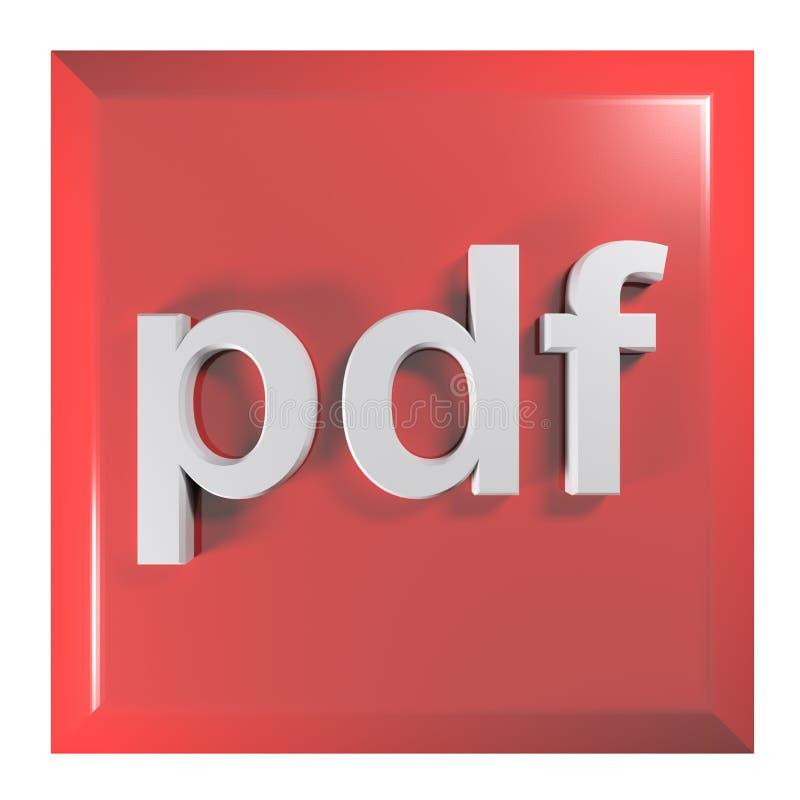 Tryckknapp för pdf: format för bärbart dokument - illustration för tolkning 3D vektor illustrationer
