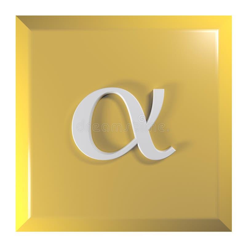 Tryckknappfyrkanten, gulnar med alfabetisktecknet - illustration för tolkning 3D stock illustrationer