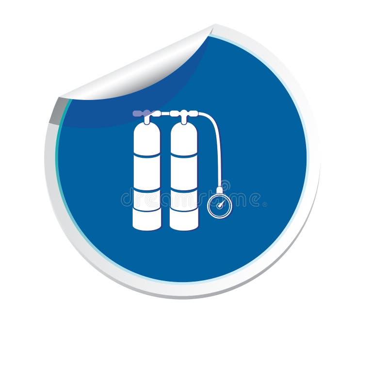 Tryckluftsapparat för att simma symbolen royaltyfri illustrationer