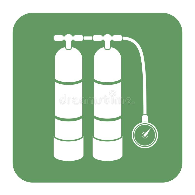 Tryckluftsapparat för att simma symbolen stock illustrationer
