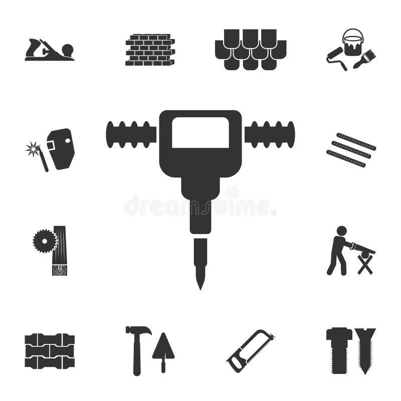 Tryckluftsborrsymbol Detaljerad uppsättning av symboler för konstruktionsmaterial Högvärdig kvalitets- grafisk design En av samli vektor illustrationer