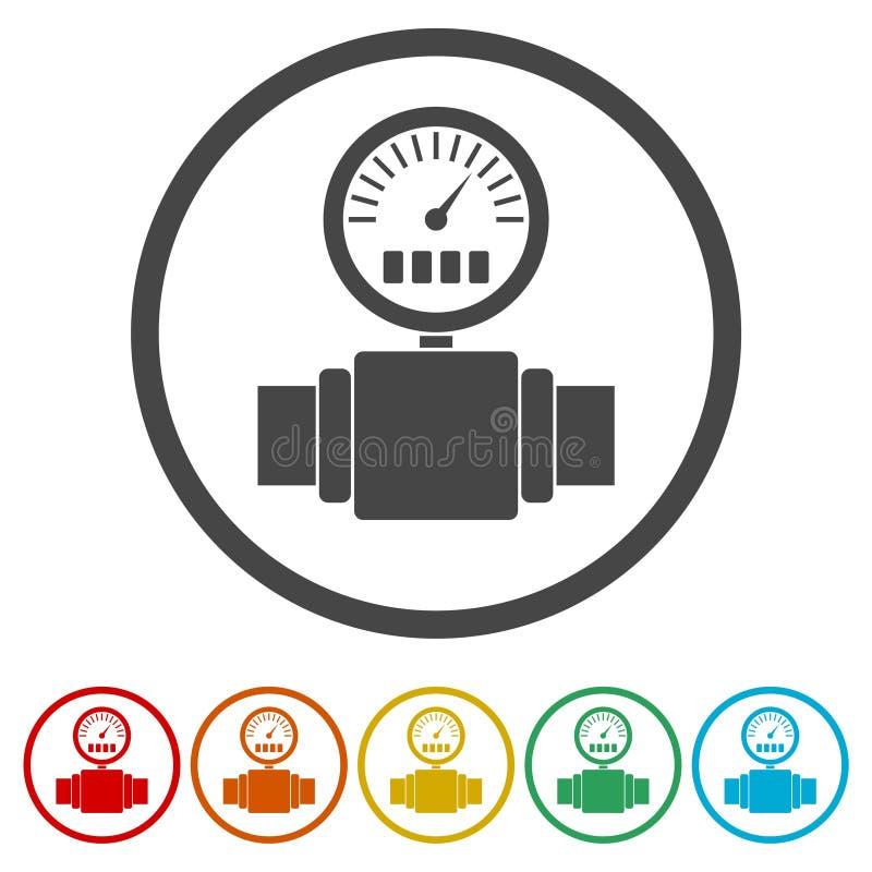 Tryckmätare manometersymbol, tryckmetersymbol, 6 inklusive färger stock illustrationer