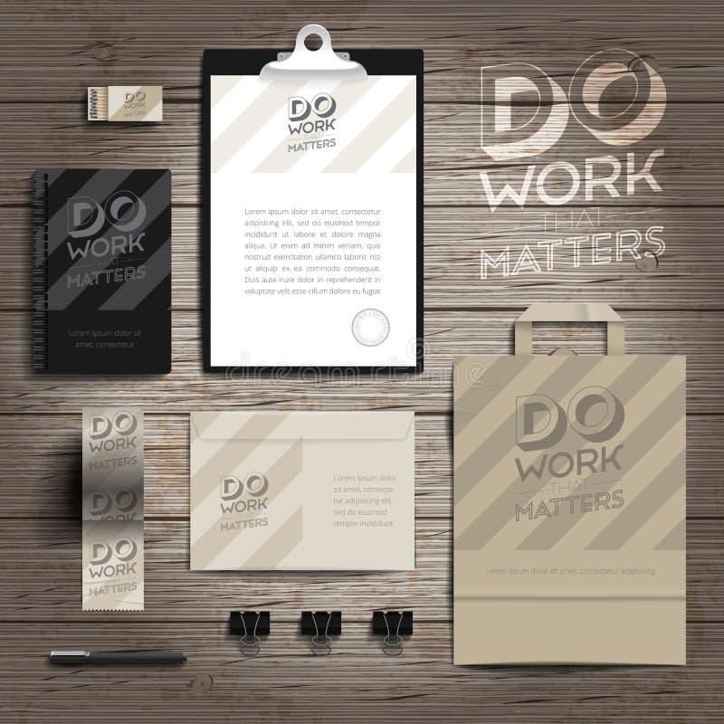 Tryckmall för företags identitet stock illustrationer