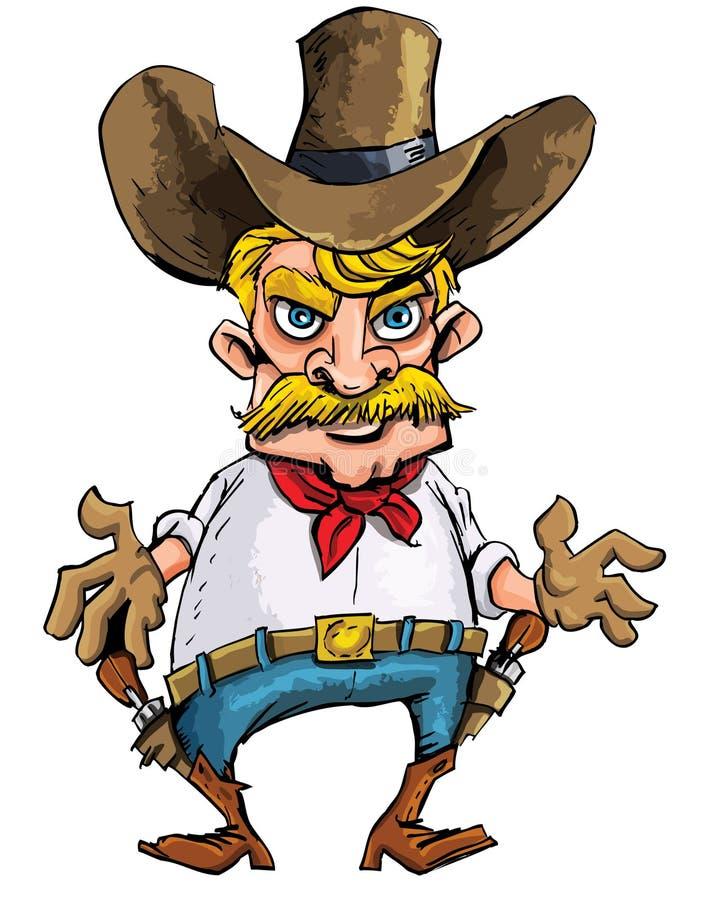 tryckspruta för bältetecknad filmcowboy hans sixguns stock illustrationer