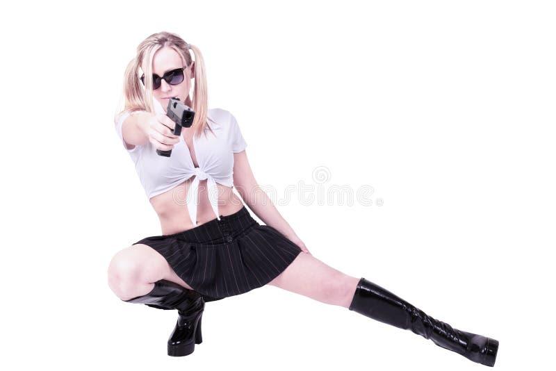 tryckspruta som rymmer den sexiga kvinnan fotografering för bildbyråer
