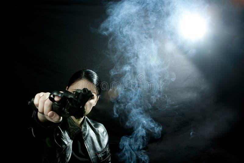 trycksprutakvinna royaltyfri fotografi