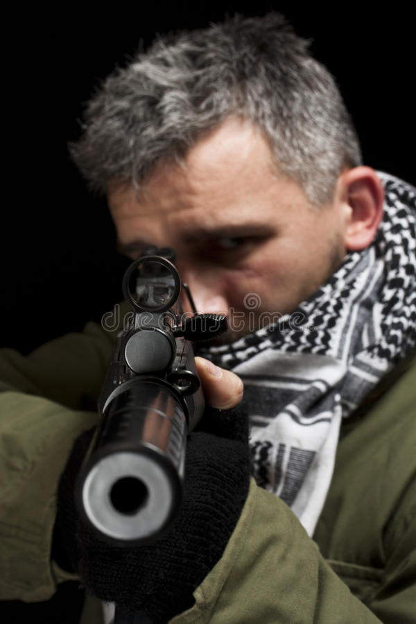 trycksprutaterroristwhit royaltyfri foto
