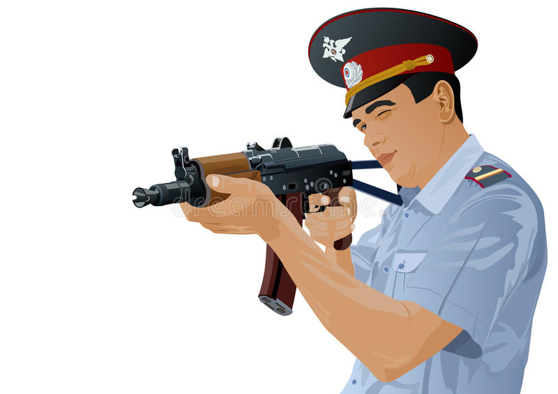 trycksprutatjänstemanpolis royaltyfri illustrationer