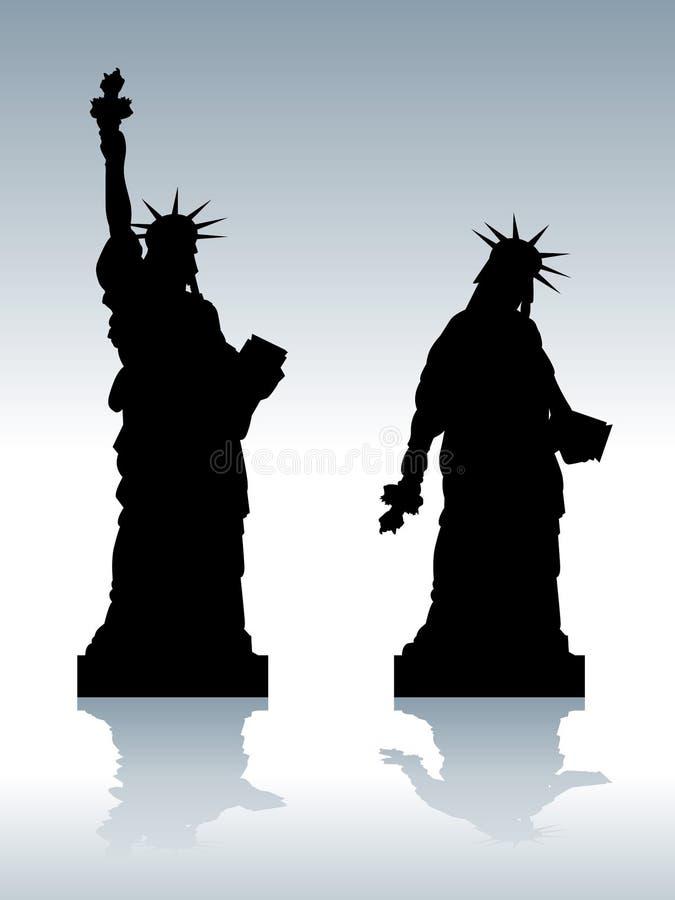 Tryckt ned staty av frihet royaltyfri illustrationer