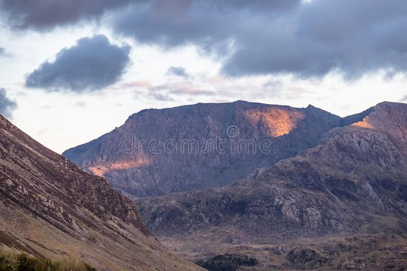 The Tryfan seen from Nant Ffrancon , Snowdonia National Park, Wales, UK royalty free stock photos