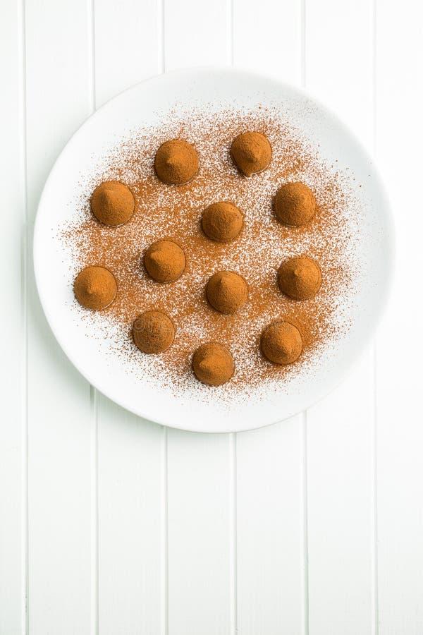 Tryfflar för söt choklad och kakaopulver fotografering för bildbyråer