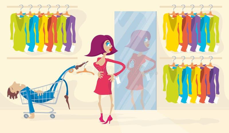 Trying On Dress stock illustration