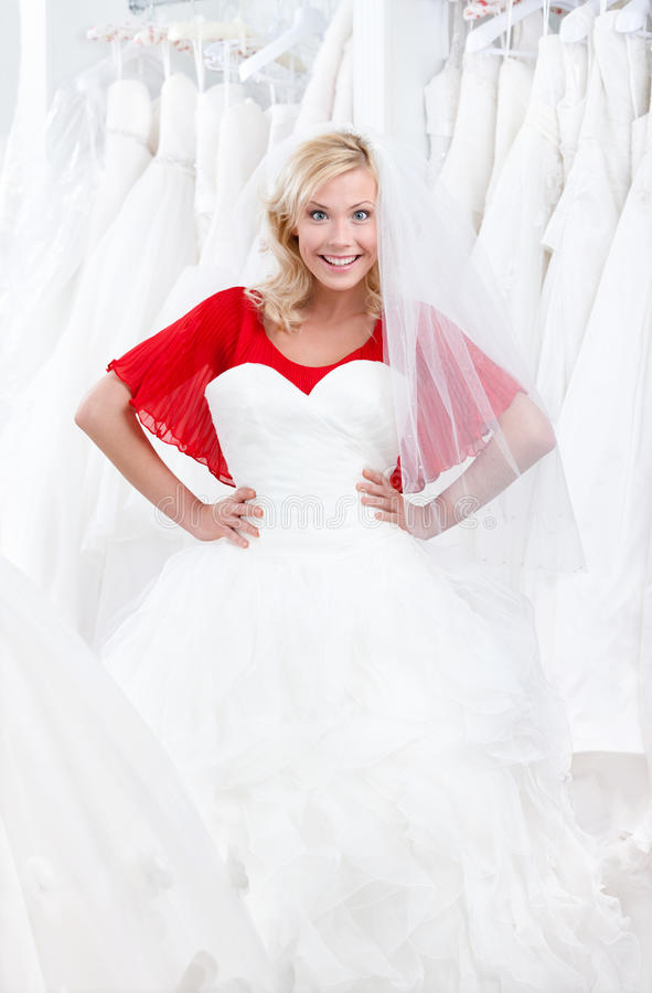 Download Trying A Fascinating Wedding Gown On Royalty Free Stock Photography - Image: 25918927