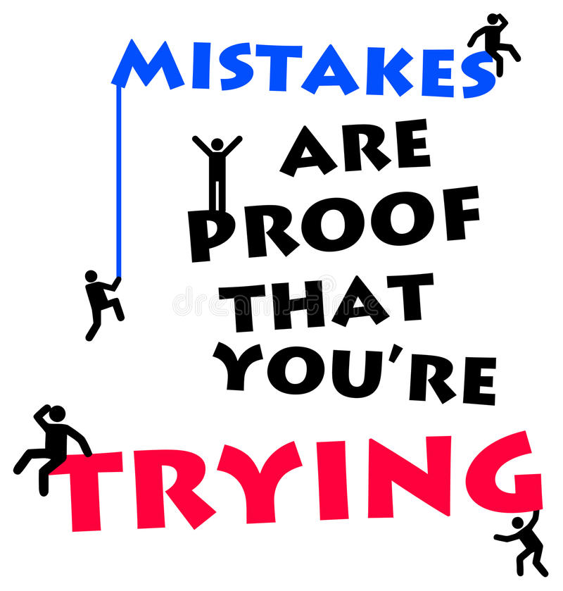 Trying. Giving your best shot in life and career and learning from mistakes vector illustration