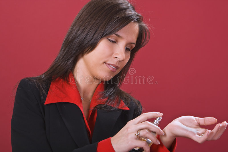 Download Trying perfume stock image. Image of beautiful, female - 4000825