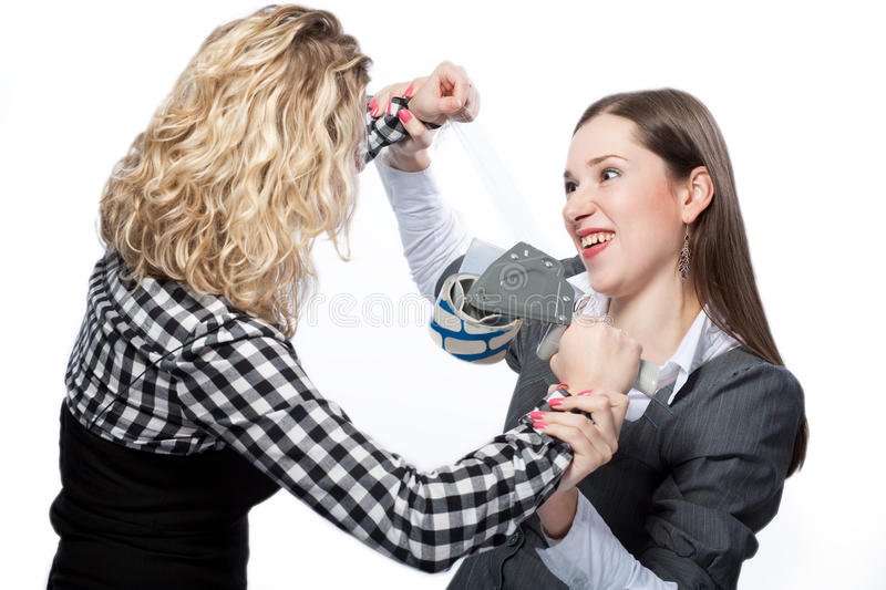 Trying to make you quiet stock photo