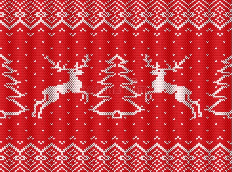 Trykotowa boże narodzenie tekstura z deers, choinkami i geometrycznym ornamentem, deseniowy bezszwowy xmas ilustracji